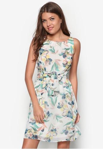 碎花繫帶無袖連zalora 鞋評價身裙, 服飾, 夏日洋裝