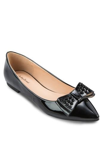 鉚釘蝴蝶結尖頭平底鞋,zalora 評價 女鞋, 鞋
