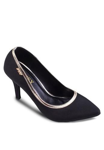 金色滾邊zalora 衣服尺寸經典高跟鞋, 女鞋, 厚底高跟鞋