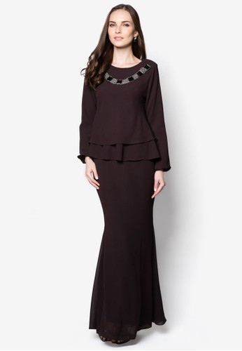 Double Layer Midi Kurung from Zuco Fashion in Brown