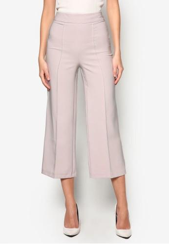 細褶九分寬管褲, 服飾, 長褲及zalora開箱內搭褲