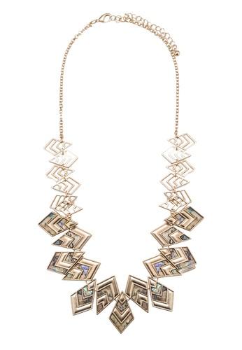 Abalone 幾何吊飾項鍊, 飾品zalora 鞋評價配件, 飾品配件