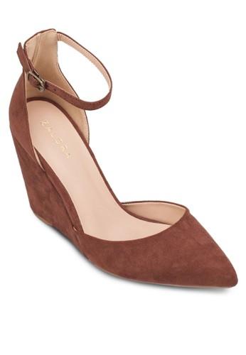尖頭zalora 鞋評價踝帶楔形跟高鞋, 女鞋, 厚底楔形鞋