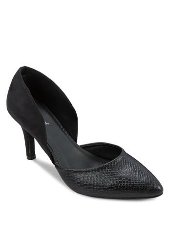 蛇紋拼接側鏤zalora 泳衣空高跟鞋, 女鞋, 厚底高跟鞋