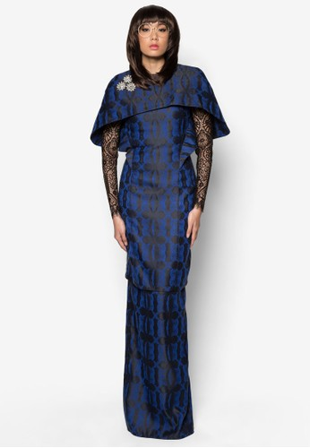 Kurung Ketupat from Woo/Fiziwoo for Zalora in Blue and Navy