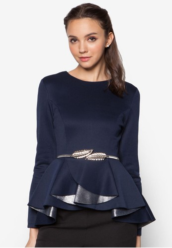 Metallic Block Pleated Peplum Top, zalora時尚購物網評價服飾, 上衣
