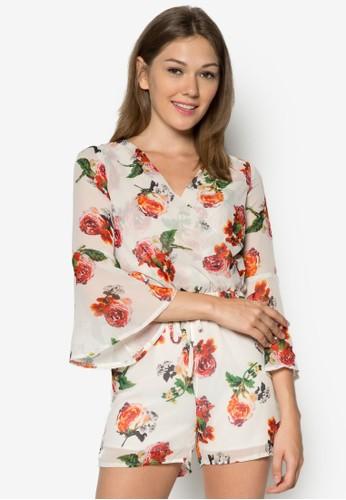 玫瑰印花長袖連身褲zalora退貨, 服飾, 服飾