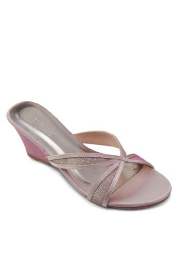 閃飾zalora退貨交叉帶楔形涼鞋, 女鞋, 楔形涼鞋