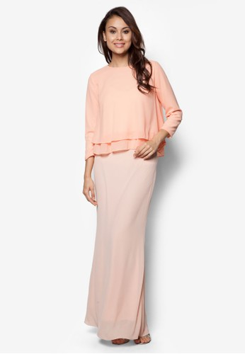 Joy to the Twirl Baju Kurung Moden from Zolace in Pink and Orange