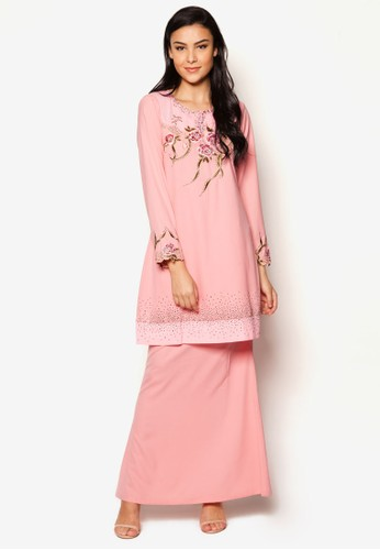 EmbroideRed Kurung Moden from Jasmina Collection in Pink