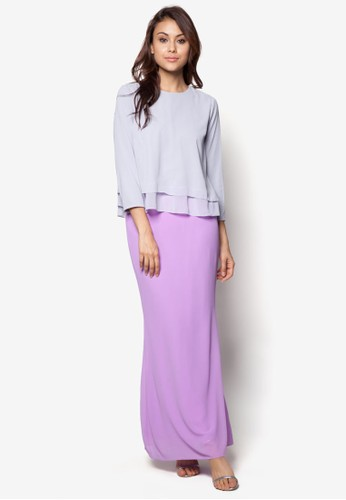 Joy to the Twirl Baju Kurung Moden from Zolace in Purple