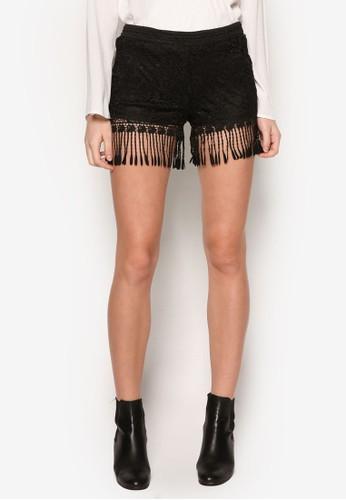 流蘇蕾絲zalora taiwan 時尚購物網鞋子休閒短褲, 服飾, 服飾