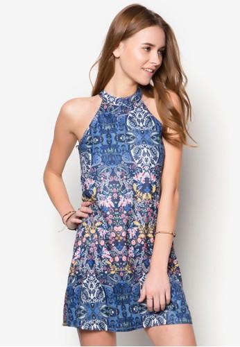 高領削肩印zalora鞋子評價花寬擺洋裝, 服飾, 服飾