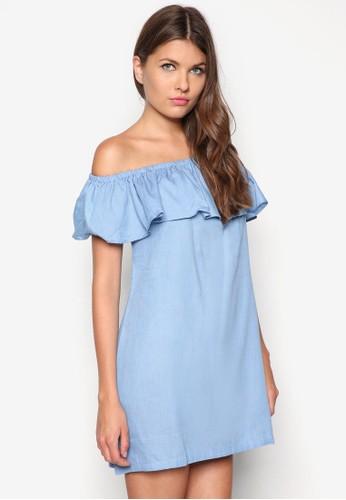 荷葉邊露肩zalora taiwan 時尚購物網丹寧連身裙, 服飾, 夏日洋裝