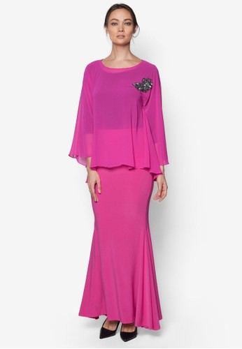 Mix Midi Kurung Kedah from Zuco Fashion in Pink