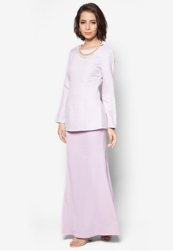 Neena Removable Necklace Kurung from VERCATO in Purple