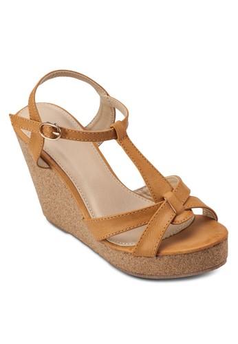 交叉帶楔zalora 鞋評價形跟涼鞋, 女鞋, 楔形涼鞋