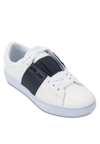 色塊繫帶運動鞋, 女鞋, 休閒zalora 台灣鞋