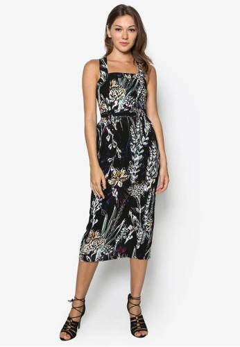 交叉肩背帶印花連身裙, 服飾,zalora鞋 派對洋裝