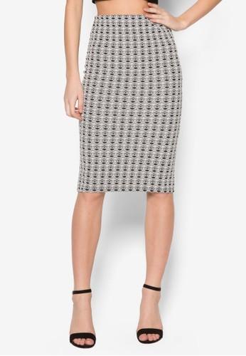 Mono Geo Textured Pencil Szalora 台灣kirt, 服飾, 及膝裙