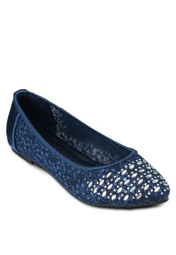 金色鉚釘尖頭平底鞋, 女鞋,zalora 鞋評價 鞋
