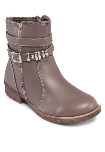Anya 層次扣環繞zalora 心得踝低筒靴, 女鞋, 鞋