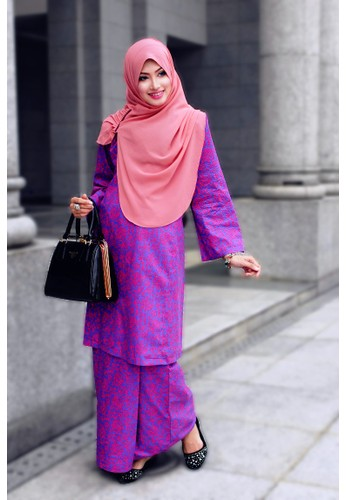 Lebaran CHANTEK Borneo from Amani Muslimah Essentials in Pink and Purple