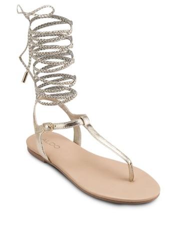 Peplzalora 鞋評價ow 纏繞帶高筒夾腳涼鞋, 女鞋, 涼鞋