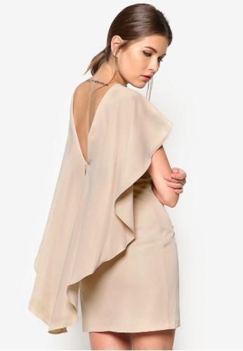 垂zalora 包包 ptt墜斗篷式連身裙, 服飾, 洋裝