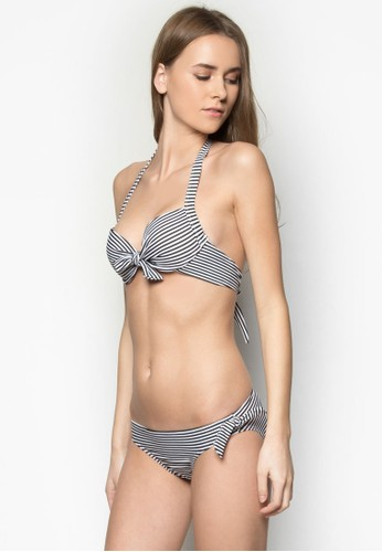 Leanne 條紋zalora時尚購物網評價比基尼套裝, 服飾, 服飾