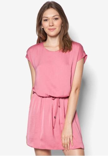 抽繩素色連mango taiwan目錄身裙, 服飾, 及膝洋裝