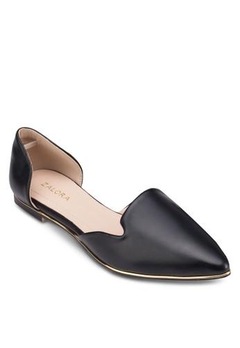 金飾側空平底鞋, 女鞋, zalora 評價芭蕾平底鞋