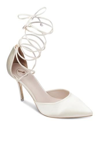 緞感交zalora鞋叉繫帶高跟鞋, 女鞋, 鞋