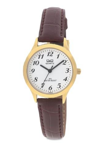 Q&Q C153J104Y 經典zalora taiwan 時尚購物網皮革圓錶, 錶類, 皮革錶帶