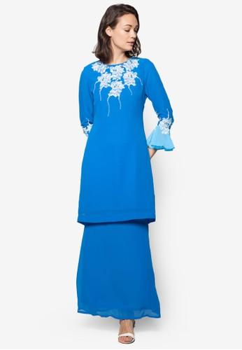 Lace Baju Kurung from Koleksi Kornia in Blue