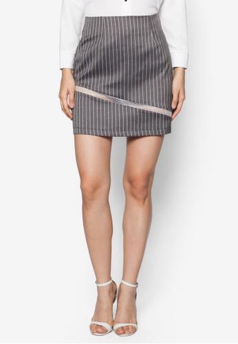 薄紗拼接條紋短zalora 內衣裙, 服飾, 迷你裙