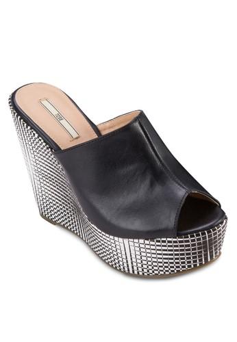格紋楔形厚底露趾涼鞋,zalora 評價 女鞋, 鞋