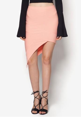 不對稱暗紋及膝裙, zalora鞋服飾, 服飾
