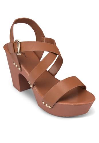 露趾繞踝木屐粗跟zalora開箱涼鞋, 女鞋, 厚底鞋