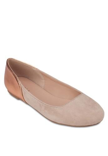 色塊仿麂皮平底鞋, 女鞋, zalora 台灣芭蕾平底鞋