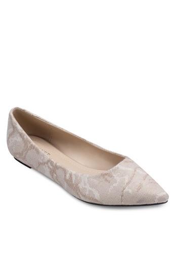 編織印花尖頭平底鞋, 女鞋, 芭蕾zalora 手錶 評價平底鞋