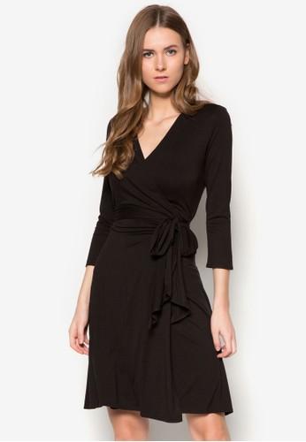 裹飾繫帶及膝連身裙, zalora 男鞋 評價服飾, 洋裝