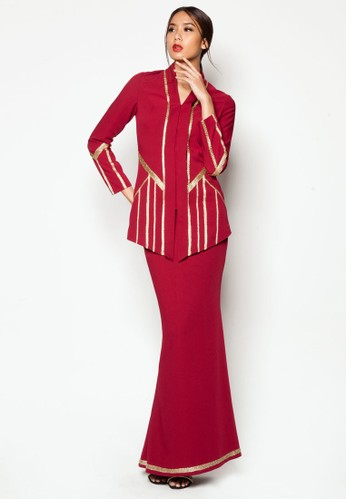 Art Deco Adabel Baju Kurung from Jovian Mandagie for Zalora in Red