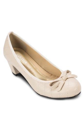 格紋蝴蝶結中跟鞋, 女鞋, zalora鞋子評價鞋