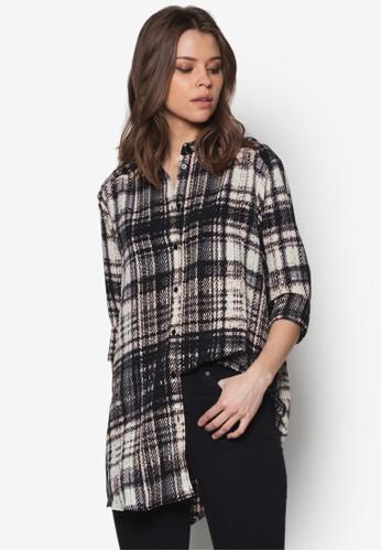 寬版格紋長袖襯衫, 服飾, topshop hk襯衫