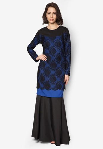 Baju Kurung Modern from Gene Martino in Black and Blue