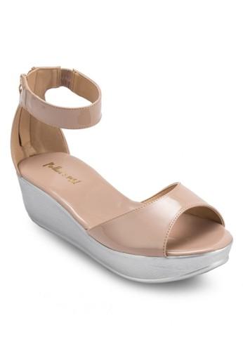 漆面繞踝厚底楔形涼zalora 評價鞋, 女鞋, 楔形涼鞋
