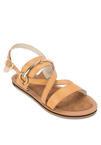 金飾繞踝平zalora 心得底涼鞋, 女鞋, 鞋