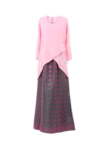 Women's Kurung Moden Dokoh Patch Light Pink from MOTHER & CHILD in Pink