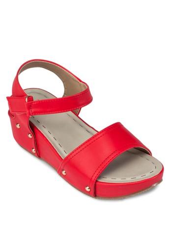 交叉帶扣環楔型跟涼鞋,zalora taiwan 時尚購物網 女鞋, 鞋